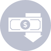 icon of dollar bill and arrow pointing down