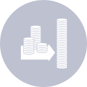 icon of stacked coins and an arrow pointing to the right