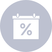 icon of a calendar with a percentage sign